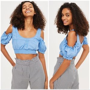 Topshop Polin Trim Ruffle Sleeve Crop Top NWT